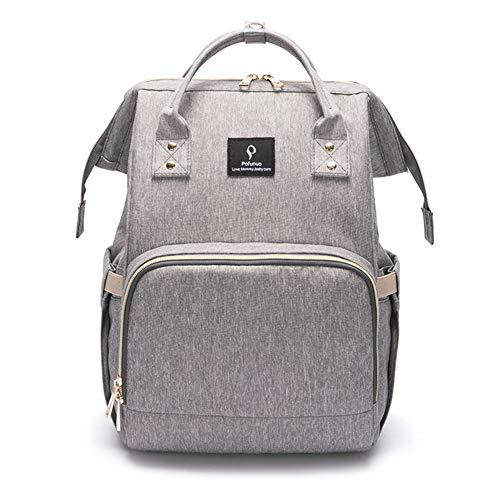 Wickelrucksack, Baby-Wickeltasche, Rucksack mit USB-Anschluss, isolierte Taschen, wasserdicht, Polyester, multifunktional, für Babypflege, große Kapazität, für Mama und Papa Gr. 42, Lightgray