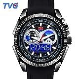 Easy Go Shopping Herren Military Watch wasserdicht mit leuchtender LED-Funktions-Doppel-Silikonuhr (Color : 1)