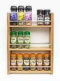 SilverAppleWood Eiche massiv Spice Rack–nimmt bis zu 18Gewürz- und Kräuter Gläser–Tiefe Kapazität für größere Gläser und Flaschen–3Ebenen/Regalen