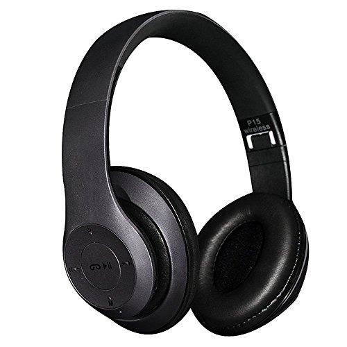 Bluetooth Over-Ear Kopfhörer, EONANT 4 in 1 P15 Bluetooth Drahtloser Kopfhörer Faltbarer Kopfhörer mit Mikrofon mit Mic / FM / TF Karte / AUX für PC Fernsehapparat Intelligente Telefone u. Tabletten (Schwarz) (Drahtlosen Fm-bluetooth)