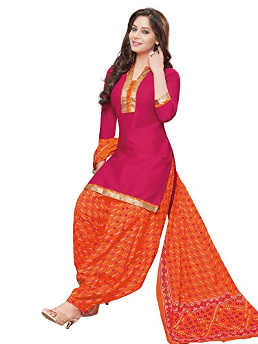 Cotton Maroon Orange Unstitched Semi Patiala Suit Dress Material For