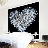 Apalis Vliestapete Diamant Herz Fototapete Quadrat | Vlies Tapete Wandtapete Wandbild Foto 3D Fototapete für Schlafzimmer Wohnzimmer Küche | Größe: 192x192 cm, schwarz, 97583