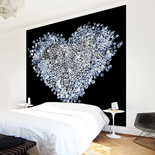 Apalis Vliestapete Diamant Herz Fototapete Quadrat | Vlies Tapete Wandtapete Wandbild Foto 3D Fototapete für Schlafzimmer Wohnzimmer Küche | Größe: 288x288 cm, schwarz, 97583