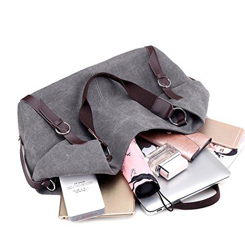 PB-SOAR Damen Herren Canvas Schultertasche Handtasche Umhängetasche Shopper Freizeittasche 40x30x16cm (B x H x T), 5 Farben auswählbar (Khaki) Blau