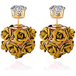 Youbella Jewellery Rose Shape Two Sided Wear Gold Plated Earrings For Girls And Women (Gold)