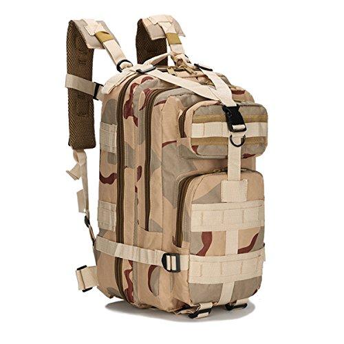 OUTERDO Militärischer Outdoor Taktischer Rucksack Camping Wandern Trekking Rucksack Tri-Wüste Camo
