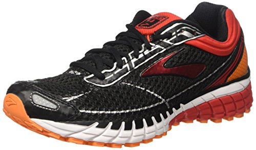 Brooks Men's Aduro 4 Running Shoes, Multicolor (Black/Highriskred/Vibrantorange), 8.5 UK