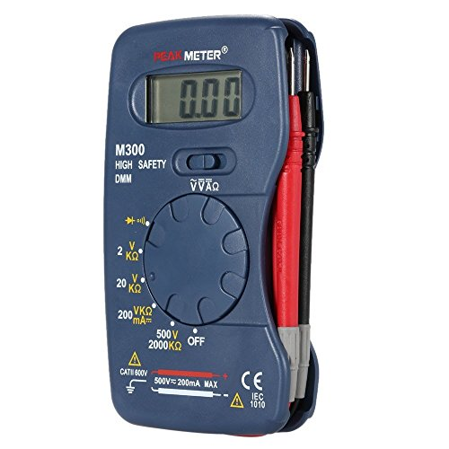 Peakmeter M300 Tragbares Mini-Digital-Multimeter, Wechselstrom-/Gleichstrom-Spannung, Gleichstrom-Widerstand, Messdiode, Durchgangsprüfung