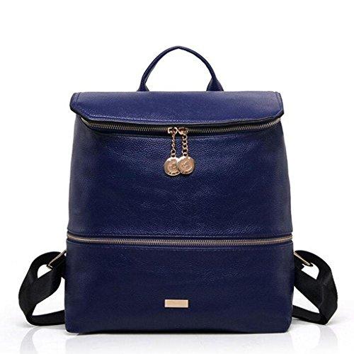 Y&F Frau Reißverschluss Rucksack Schultertaschen Handtasche 28 * 13 * 28cm Blue