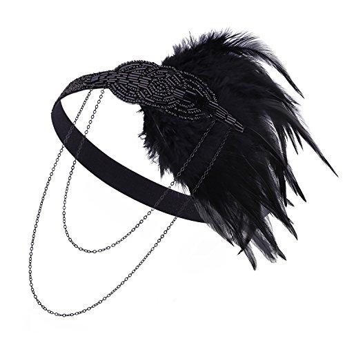 1920er Jahre Gatsby Stirnband 20 s Zubehör Kristall Perlen Feder Flapper Kopfschmuck (Details Stirnband)