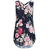 JUTOO Women Loose Flowers Chiffon Sleeveless Tank V-Neck Zipper Hem Scoop Tshirts Tops(K-Marine, EU:34/CN:S)