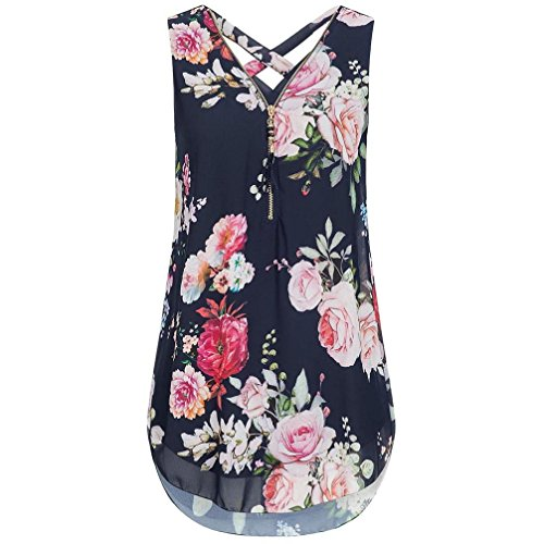 JUTOO Women Loose Flowers Chiffon Sleeveless Tank V-Neck Zipper Hem Scoop TShirts Tops(K-Marine, EU:46/CN:XL)