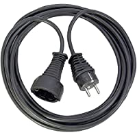 Brennenstuhl Qualitäts- Kunststoff-Verlängerungskabel mit Schutzkontakt-Stecker und -Kupplung (Verlängerungskabel für innen mit 5m Kabel) schwarz