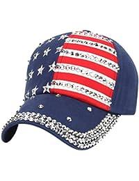 DEELIN Sombrero para Mujer Hombre Bandera Americana Gorra De BéIsbol  Snapback Hip Hop Flat Hat Sun 444ed35e074