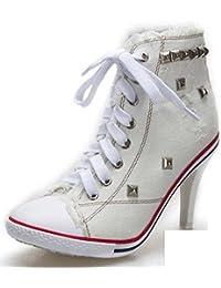 MHX Zapatos de Mujer Nuevos Zapatos de Mujer Coreana Denim High Heels Rivet Tide Zapatos de Lona Nuevos Modelos de Explosión (Color : Blanco, Tamaño : 34)