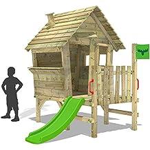 FATMOOSE casitas de madera VanillaVilla Joy XXL casita con veranda y tobogán