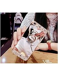 FESELE Coque Samsung Galaxy S4, Samsung Galaxy S4 Cas,Coque Samsung Galaxy S4 Miroir [ Bague Supporter] Luxe Crystal Rhinestone Bling diamant Briller TPU Souple en Caoutchouc Pare-chocs de Cas Miroir de Maquillage de Cas Caoutchouc Silicone Souple Étui Protecteur Anti-Scratch Bumper pour Samsung Galaxy S4 + 1 X Stylo Bleu - Argent