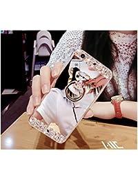 FESELE Coque Samsung Galaxy J5(2016), Samsung Galaxy J5(2016) Cas,Coque Samsung Galaxy J5(2016) Miroir [ Bague Supporter] Luxe Crystal Rhinestone Bling diamant Briller TPU Souple en Caoutchouc Pare-chocs de Cas Miroir de Maquillage de Cas Caoutchouc Silicone Souple Étui Protecteur Anti-Scratch Bumper pour Samsung Galaxy J5(2016) + 1 X Stylo Bleu - Argent