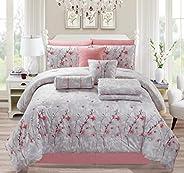 Elegancia Nine Piece Embroidered King Comforter Set -Pink D002-04