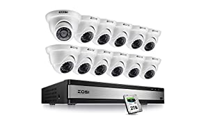 ZOSI 16 Channel 1080P Lite CCTV Camera System 2TB Surveillance HDD w/ 12x 1080P In/Outdoor White Dome Cameras, Security Camera Systems