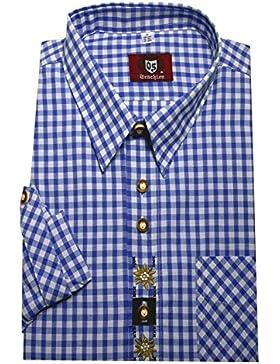 Orbis 0102 Trachtenhemd kornblau weiß kariert mit Stickerei Krempelarm bequemer Schnitt M bis 6XL