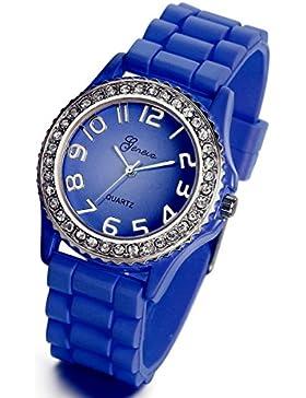 Lancardo Mädchen Damen Armbanduhr, elegant Quarz modisch silikon Uhr mit Strass Zifferblatt, blau