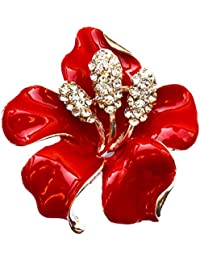 """NEW 1,9"""" LARGE FLOWER SILVER COLOUR BROOCH BRIGHT RED HIGH GLOSS ENAMEL CLEAR RHINESTONE DIAMANTE CRYSTALS POPPY PIN BADGE BROACH UK SELLER"""