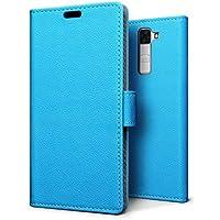 Custodia LG K8, SLEO Cover Ultra Sottile in PU Pelle Supporto Stand, Porta Carte e Protettiva Flip Portafoglio Case con Chiusura Magnetica per LG K8 - Blu