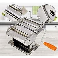 ELT Hochwertige Edelstahl Nudelmaschine manuell für 7 Nudelstärken Pastamaschine Nudel Maschine Pasta Maker (Edelstahl)