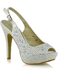 Onlineshoe Señoras Mujeres Peep Toe Zapatos de novia de la boda - lazo de satén - Satén Marfil