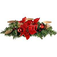 WeRChristmas Decorated Table Centre Piece with 3-Pillar Candle Holder, 52 cm - Red/Gold
