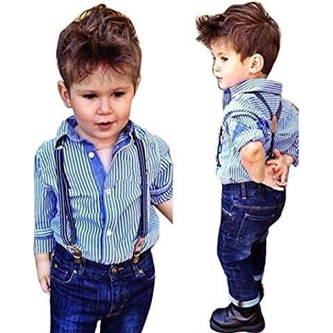 Amlaiworld Bebé Rayas camisa con cuello babero Tops + correas de los pantalones vaqueros de Trajes