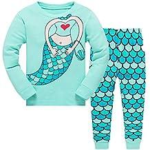 bf7ae54c6e Qzrnly Mädchen Schlafanzug Giraffe Baumwolle Kinder Langarm Pyjama 98 104  110 116 122 128 134 140