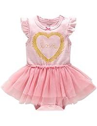 9b19723c1cd4d Bébé Filles Rayé Barboteuses Tutu Robe Été Grenouillères Enfant Coton  Outfits Princesse Costume