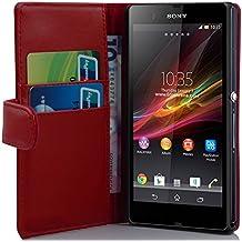 Cadorabo–Funda estilo libro para Sony Xperia Z–Case Cover Carcasa Funda Con Tarjetero en Chili de color rojo