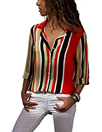 9cfd8b0f89d Aleumdr Womens V Neck Stripe Long Sleeve Loose Fit Button up Color Block  Blouses Tops