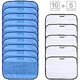 KEEPOW 15 Pcs Mopping Cloths For IRobot Braava 390t 380t 380 320 Mint 4200 4205 5200 5200C (10 Wet + 5 Dry)