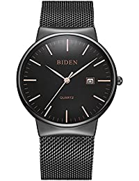 Watch,Men's Fashion Stainless Classic Casual Watch With Milanese Mesh Band,Waterproof Casual Analog Quartz Dress Wrist Watch (Black)