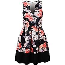 Cassia Elfenbein vielfarbigen Blumen Kontrast Plissee Detail ärmellos Skater Bodycon Kleid