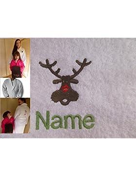 Accappatoio adulto con Logo una renna e nome a scelta in Bianco, Taglia M, L, XL o XXL, White, XLarge