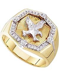 10 KT Or jaune pour homme Diamant rond Eagle Cluster Bague 1 4 carat au 391b3d7783a4