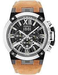 Cerruti cra14 5stb02tn pragelato Cronógrafo Reloj Reloj de hombre piel pulsera de acero inoxidable 50 m Analog Chrono Fecha Marrón Negro