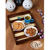 Wood Art Store Serving Trays Sheesham Wood And Pine Wood Tray- Breakfast Serving Trays Wooden Decorative Trays Gift Item (Size- 14 X10x2 Inches)