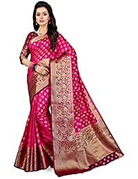 M.S. Retail Women's Woven Kanjivaram Silk Saree with Blouse Piece (HM-WAVES-4040,Pink,Free Size)