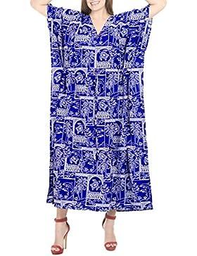 La Leela costumi da bagno beachwear aloha rayon mano abito caftano nightwear maxi caftano delle donne