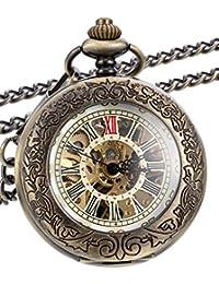 Reloj de Bolsillo Mecánico Bronce Clásico de Steampunk con Cadena