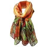 HUHU833 Écharpes châle foulards Femmes mode impression longue écharpe châle Automne Hiver (Orange)