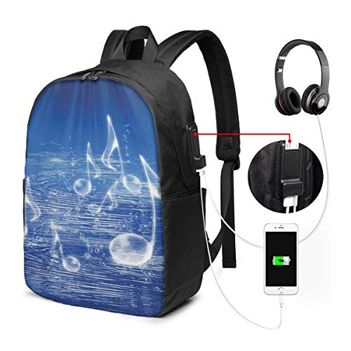 Backpack,Magical Water with Musical Notes Bubbles Dancing Waves Fantasy Music More Than Real Theme