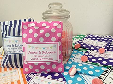 PERSONALISED Candy Stripe/Polka Dot Sweet Bags with Bunting Design (100)