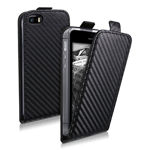 kwmobile 45124.01 Handy Tasche 10,2 cm (4 Zoll) Flip schwarz - Handyhüllen (Bücher, Apple, iPhone SE/5/5S, 10,2 cm (4 Zoll), schwarz (Buch Handy Cover Iphone 5)